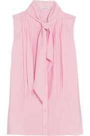 Oscar de la Renta Pussy-bow pleated silk crepe de chine top