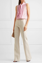 Pussy-bow pleated silk crepe de chine top