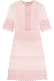 Giambattista Valli Guipure lace-paneled crepe and chiffon mini dress