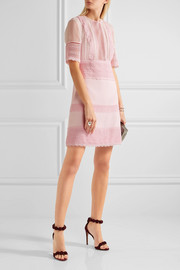 Guipure lace-paneled crepe and chiffon mini dress