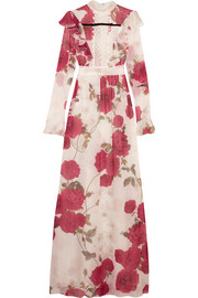 Lace-paneled floral-print silk-chiffon gown