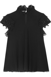 Giambattista Valli Guipure lace-trimmed ruffled silk-georgette top