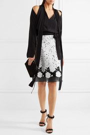 Giambattista Valli Cotton-blend bouclé, guipure lace and silk-organza skirt