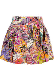 Etro Printed silk crepe de chine shorts