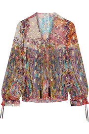 Etro Metallic printed fil coupé silk-blend georgette top