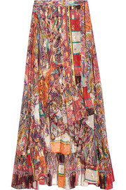 Metallic printed fil coupé silk-blend georgette wrap skirt