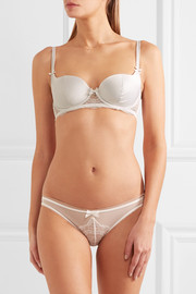 Madelene stretch-tulle and Leavers lace briefs