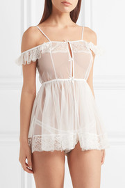 Madalene Leavers lace-trimmed tulle nightdress