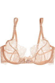 Angelica lace and stretch-tulle underwired bra