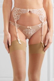 Angelica lace and stretch-tulle suspender belt