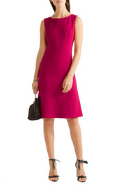 Pleated stretch wool-blend dress