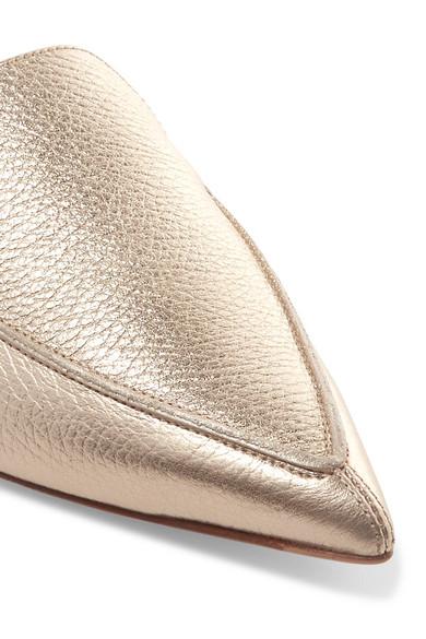 Nicholas Kirkwood Beya Slippers aus strukturiertem Metallic-Leder