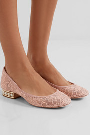 Nicholas Kirkwood Casati faux pearl-embellished lace ballet flats