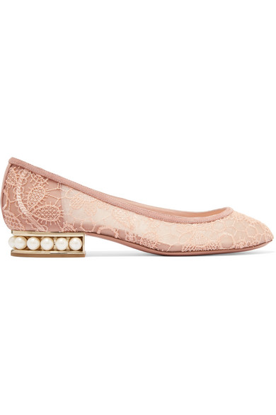 Nicholas Kirkwood - Casati Faux Pearl-embellished Lace Ballet Flats - Blush