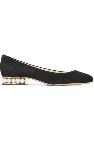 Nicholas Kirkwood - Casati Faux Pearl-embellished Suede Ballet Flats - Black