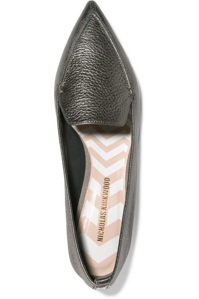 Nicholas Kirkwood Beya flache Schuhe mit spitzer Kappe aus strukturiertem Metallic-Leder
