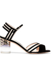 Zaha mesh-paneled suede sandals