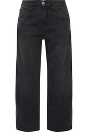 Current/Elliott The Barrel Crop high-rise wide-leg jeans