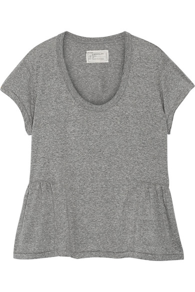 Current/Elliott - The Girlie Jersey Peplum T-shirt - Gray