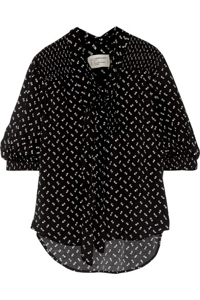 Current/Elliott - Willow Pussy-bow Floral-print Crepe Blouse - Black