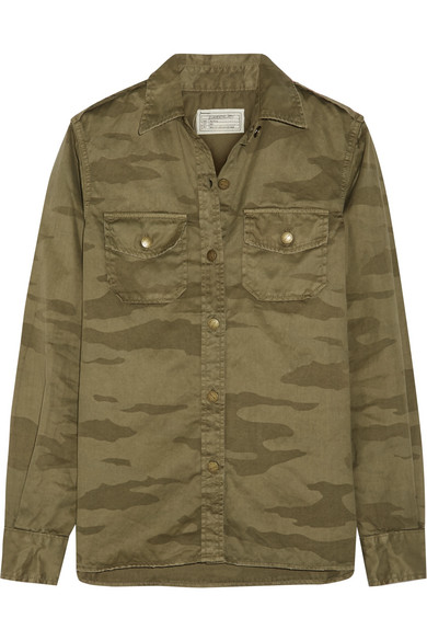 Current/Elliott - The Perfect Camouflage-print Cotton-twill Shirt - Army green