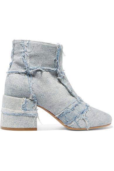 MM6 Maison Margiela - Frayed Patchwork Denim Ankle Boots - Light denim