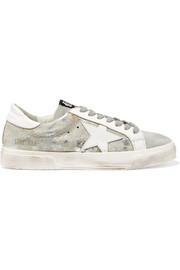 Golden Goose Deluxe Brand May distressed metallic calf hair, suede and leather sneakers