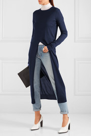 Jil Sander Split-front silk and cotton-blend sweater