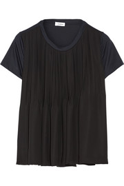 Two-tone pleated satin and cotton-jersey top
