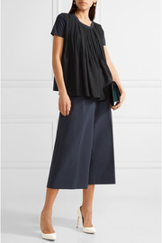 Jil Sander Two-tone pleated satin and cotton-jersey top