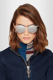 Simone aviator-style silver-tone mirrored sunglasses