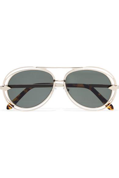 Cutout Aviator-style Gold-tone Sunglasses - one size Saint Laurent cBo9MB0saN