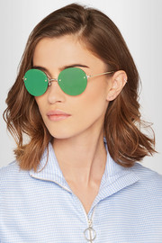 Bodoozle round-frame gold-tone mirrored sunglasses