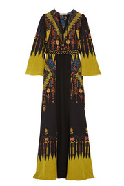 Belted printed silk crepe de chine maxi dress