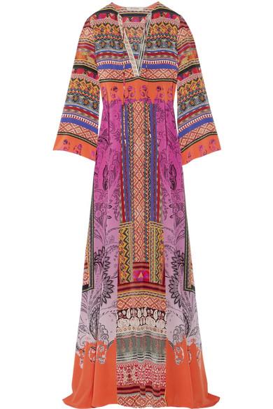 Etro - Printed Silk-crepe Maxi Dress - Pink