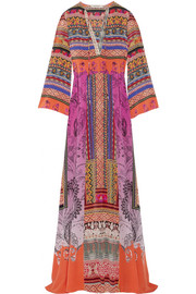 Printed silk-crepe maxi dress