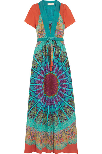 Etro - Printed Silk Crepe De Chine Maxi Dress - Blue