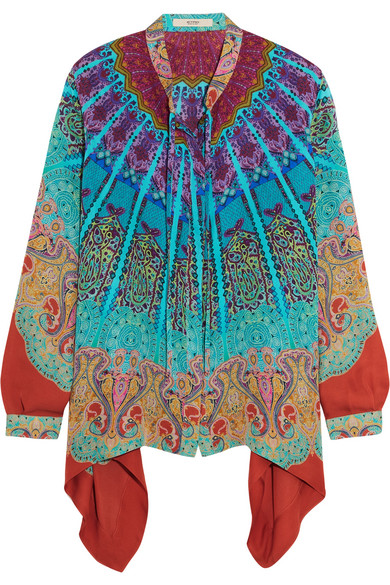 Etro - Asymmetric Printed Silk Blouse - Blue