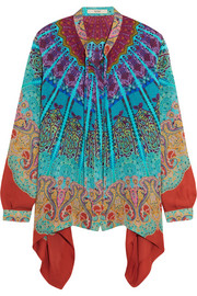 Asymmetric printed silk blouse