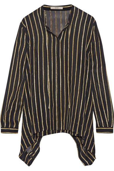 Etro - Striped Silk-blend Chiffon Shirt - Black