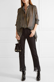 Striped silk-blend chiffon shirt