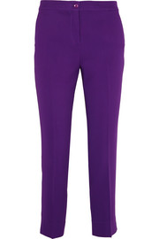 Capri cropped crepe slim-leg pants