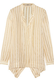 Asymmetric striped silk-blend chiffon shirt
