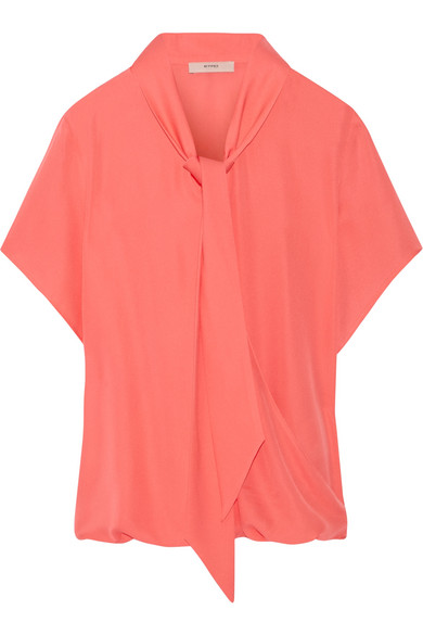 Etro - Pussy-bow Silk Crepe De Chine Blouse - Coral