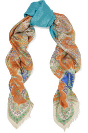 Paisley-print metallic modal and silk-blend scarf