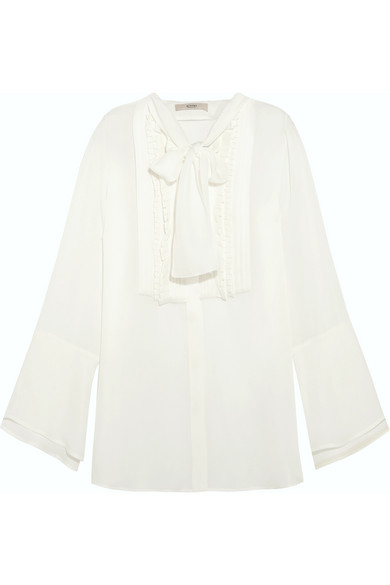Etro - Pussy-bow Pintucked Silk-georgette Blouse - White