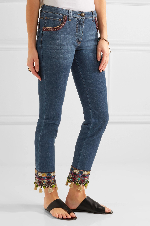 Etro Embellished embroidered mid-rise slim-leg jeans