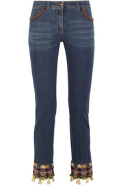 Etro Embellished embroidered mid-rise slim-leg jeans