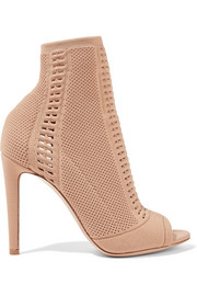 Vires perforated stretch-knit peep-toe ankle boots