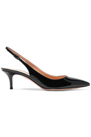 Patent-leather slingback pumps